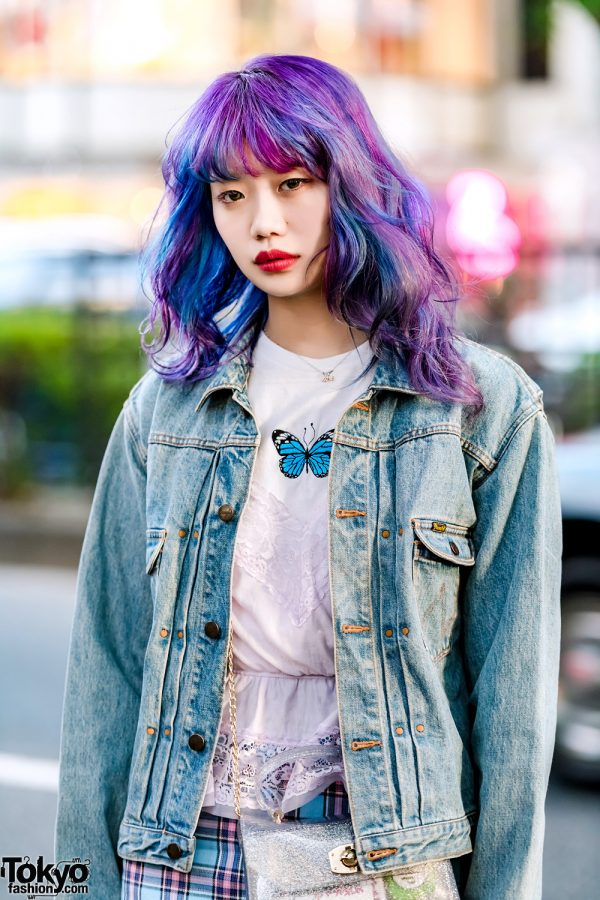 73e3597c54476 Elleanor is a Japanese style icon. Her beautiful bright colored purple and  blue hair looks great with her more neutral colored clothing.